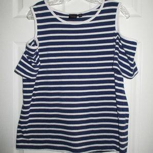 Cold shoulder nautical blue & white stripe tee